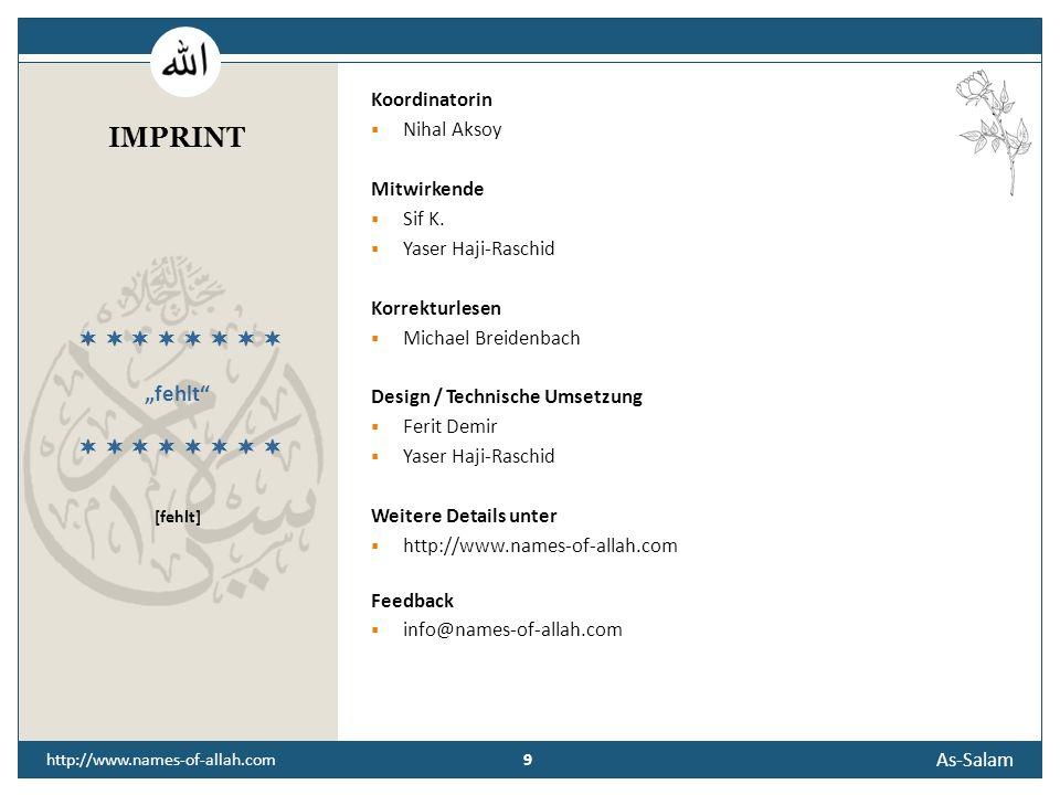 "IMPRINT ""fehlt         [fehlt] Koordinatorin Nihal Aksoy"